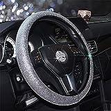 steering wheel cover crystal - RUIRUI Cystal Car Steering Wheel Cover ,38CM/15'' Universal PU Leather Bling Bling Rhinestones Steering Wheel Cover Four Seasons Steering Cover , Silver
