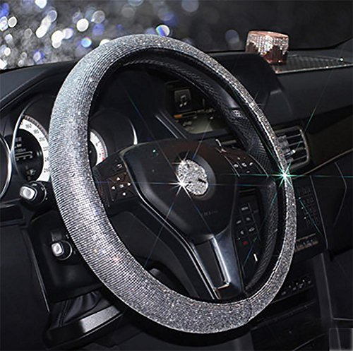 RUIRUI Cystal Car Steering Wheel Cover,38CM/15'' Universal PU Leather Bling Bling Rhinestones Steering Wheel Cover Four Seasons Steering Cover, Silver