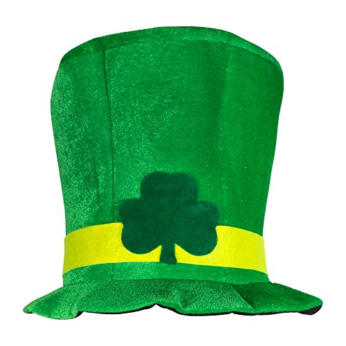St. Patricks Day Shamrock Green Velvet Top Hat for Men & Women
