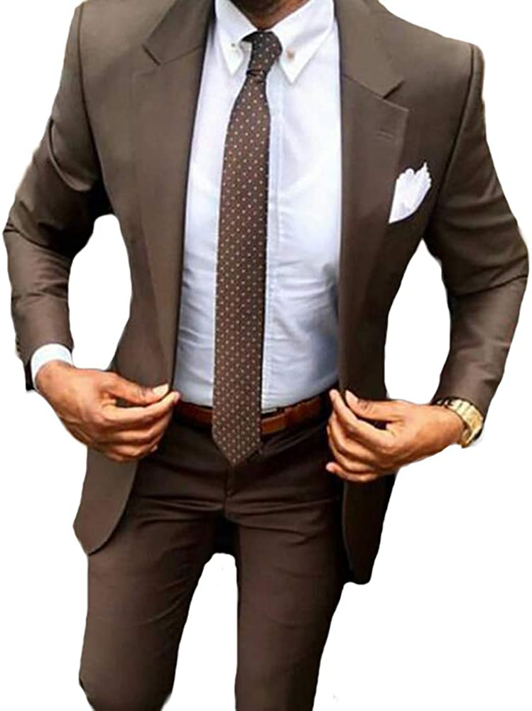 Mens 2 Pieces Peak Slim Fit Tuxedo Business Suit Wedding Suit For Men Brown 46 40 At Amazon Men S Clothing Store