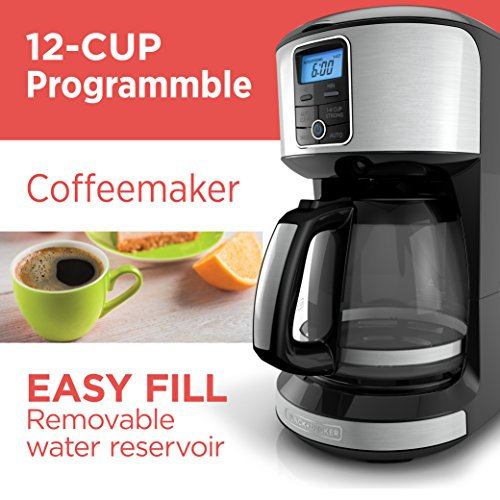 BLACK+DECKER CM4100S 12 Cup Automatic Programmable Coffeemaker with Removable Water Reservoir, Stainless Steel Coffeemaker
