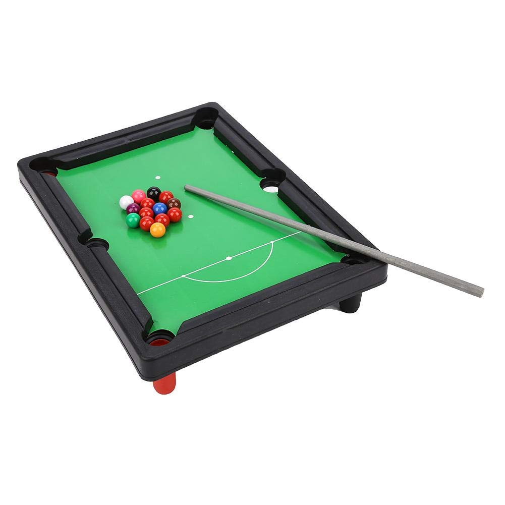 Alomejor Mini Table Top Pool Table Billiard Table with Cue Sticks Billiards Triangular Compass for Kids by Alomejor