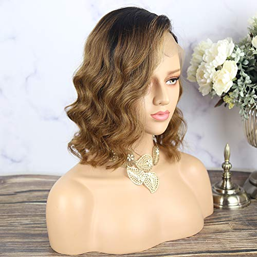 13x4 Lace Front Wigs Human Hair Short Bob Wigs Pre Plucked With Baby Hair Wave Brazilian Remy Hair Wigs For Black Women 1B/30 Dark Roots Brown Ombre Color 150% density 10inch (Best Ombre Short Hair)