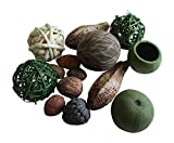 Rag Ball, Twig Balls, Pods, Seeds Bowl Filler Set Green and Tan 11 Pieces