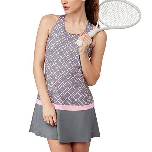 Fila Tennis Dress (Fila Women's Simply Smashing Dress, Elite Print, Prism Pink, L)