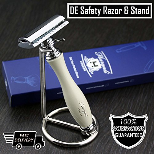 Gent's Classic DE Safety Razor in Elegant Ivory Colour & Stainless Steel Stand (Blades Not Included) | Men's Shaving & Grooming Essentials > Gift for Him