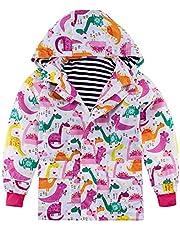 Funnycokid Regnjacka barn vattentät flickor regnkostnad vindjacka mjuk rolig grafik med fickor 2-9 år