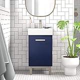 "LUCA Kitchen & Bath LC17XBP Brielle 16.5"" Single Sink Bathroom Vanity Porcelain Countertop-Freestanding or Wall Mounted, Midn"