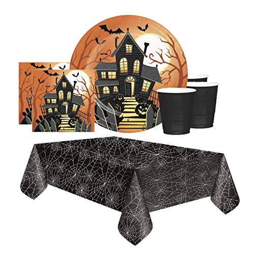 Family Friendly Halloween Party Themes (FAKKOS Design Halloween Party Supplies for Kids Paper Plates, Napkins, Plastic Cups with Spider Web Table Cover for 16 People in Family Friendly Haunted House)