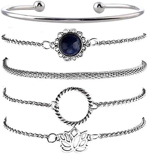 Gallity Layered Bracelet Set Adjustable Bohemian Bracelets Stretch Charm Bracelet for Women Stackable Open Cuff Wrap Bangle Bracelet Jewelry Accessories