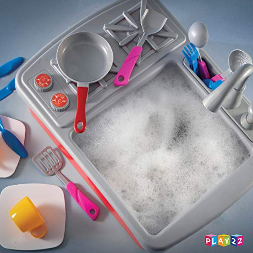 5171qBh0AYL - Play22 Kitchen Sink Toy 17 Set - Play Sink Play House Pretend Toy Kitchen Sink with Running Water - Kids Toy Sink with Real Faucet & Drain, Dishes, Utensils & Stove - Kitchen Toys for Toddlers & Kids