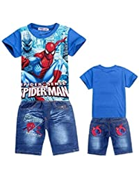 Nine Minow 2Pcs Boys Spider-Man Pullover T-Shirt+Jeans Shorts Baby Clothing Sets