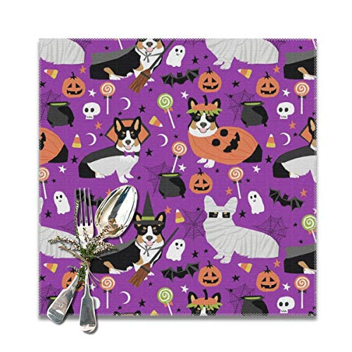 tri-Colored Corgi Halloween Costumes Mummy Vampire Ghost just Dog Purple Washable Placemats for Dining Table Double Fabric Printing Cotton Place Mats for Kitchen Table Set of 6 Table Mat 12