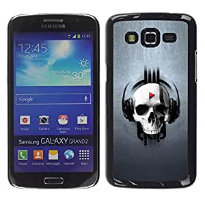 Paccase / SLIM PC / Aliminium Casa Carcasa Funda Case Cover - Design Skull Music - Samsung Galaxy Grand 2 SM-G7102 SM-G7105