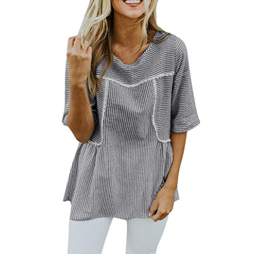 (iYYVV Women Plus Size Lace Patchwork Stripe Short Sleeve Shirt Loose Casual Blouse Top)