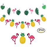bulk party streamers - Flamingo Pineapple Tropical Leaves Garland Hanging Decor Summer Party Hawaiian Party Decorations, Set of 2
