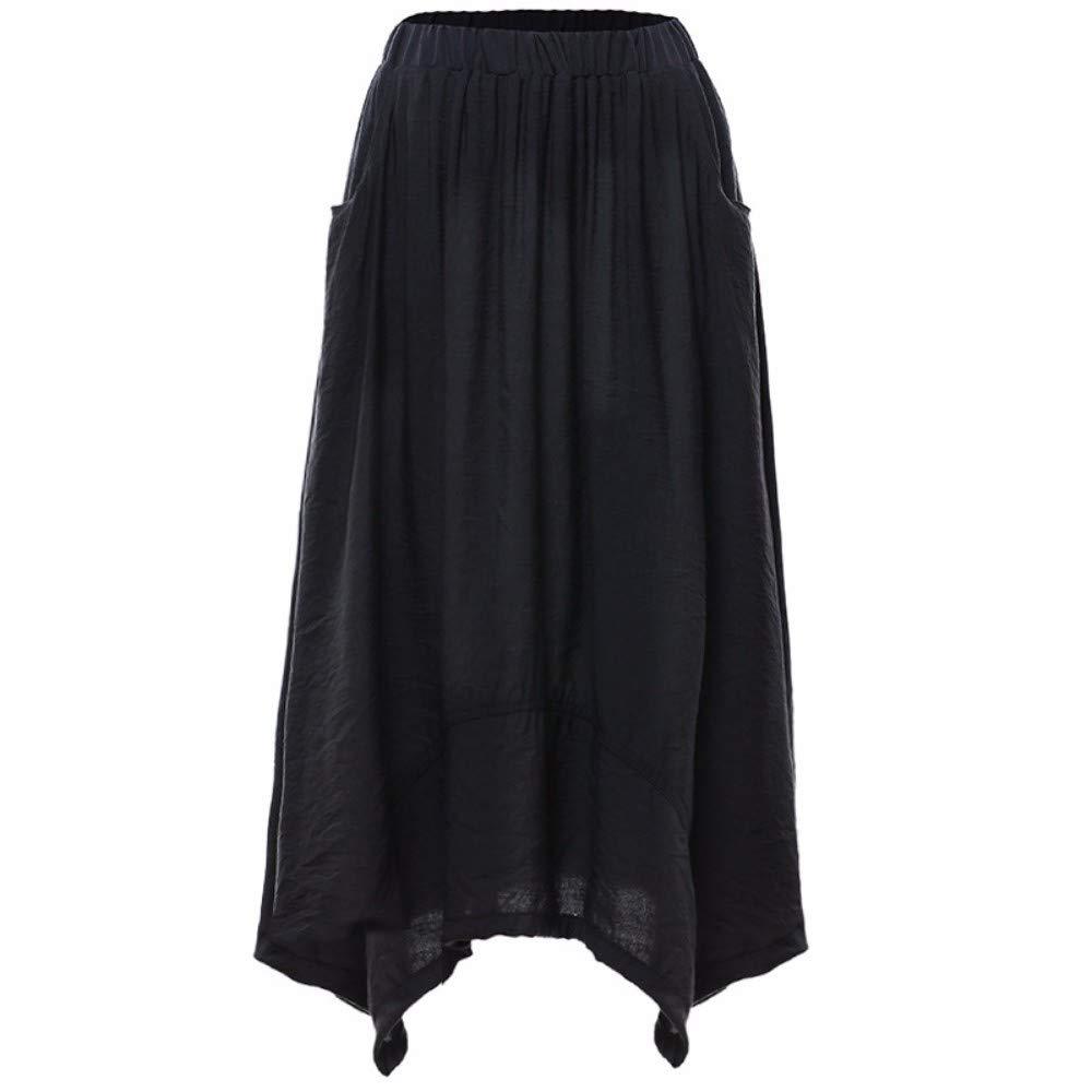Black ZPSPZ skirt High Waist HalfLength Skirt European and American Elastic Waist Long Skirt Irregular Dress Women's Pure color
