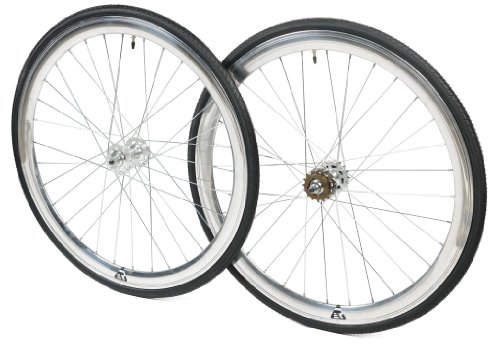 Retrospec Bicycles Mantra Fixed-Gear/Single-Speed Wheelset with 700 x 25C Kenda Kwest Tires and Sealed Hubs, Chrome