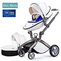 Hot Mom Cochecito de Bebe 2017 - Sillita de paseo 3 en 1 (incluye mois¡§ s)¡ê?Elegante seguridad, buenos amortiguadores, asiento regulable en altura, multi-¡§¡éngulo ajustable, reversible