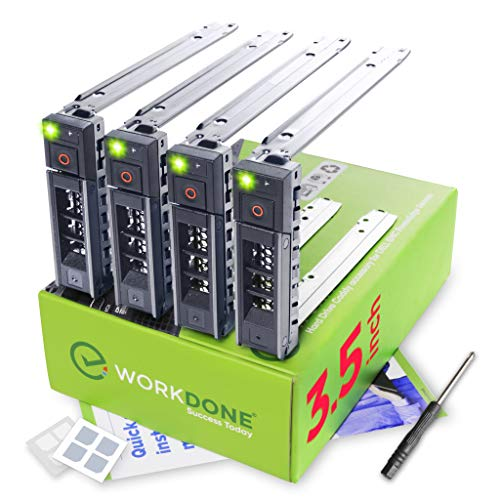 - WorkDone 4-Pack - 3.5 inch Hard Drive Caddy - Compatible for Listed Dell PowerEdge Servers - with Detailed Installation Manual - Sled Front Sticker Labels - Screwdriver- Added Tray Screws