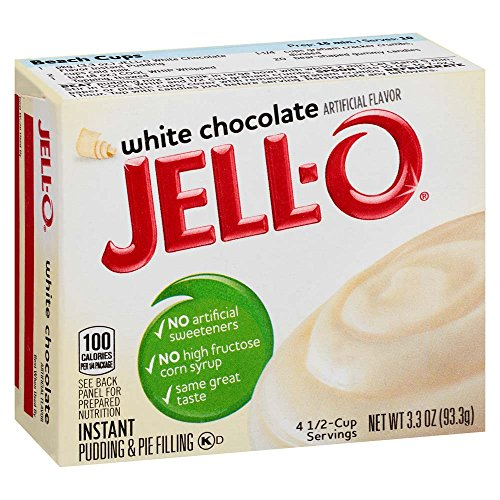 Jell-O White Chocolate Instant Pudding Mix 3.3 Ounce Box (Pack of 6)