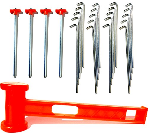 "Heavy Duty Tent Stake & Mallet Camping Kit - 20 Galvanized 10"" Stakes, 4 10"" Spikes with Rope Hooks, Mallet With Puller"