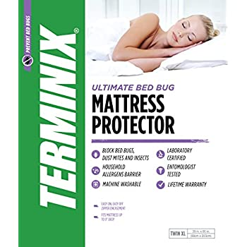 "TERMINIX Ultimate Mattress Protector - 6-Sided Water-Resistant Zippered Encasement Blocks Bed Bugs, Dust Mites, Insects, & Allergens - Machine Washable - up to 11"" - Twin XL"