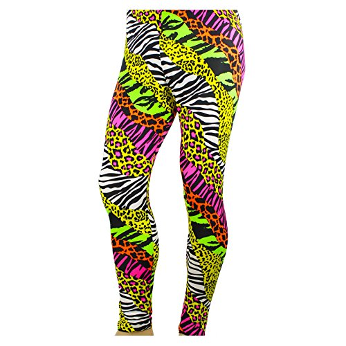 Men's 80's Heavy Metal Pants Neon Rainbow Animal Print (X-Large (37-39))