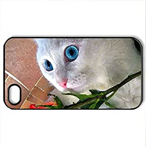 lintao diy Beauty rose - Case Cover for iPhone 4 and 4s (Cats Series, Watercolor style, Black)