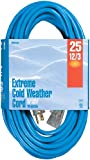 Woods 2437 25-Foot 12/3 SJTW Cold Weather Extension Cord with Lighted End, Blue