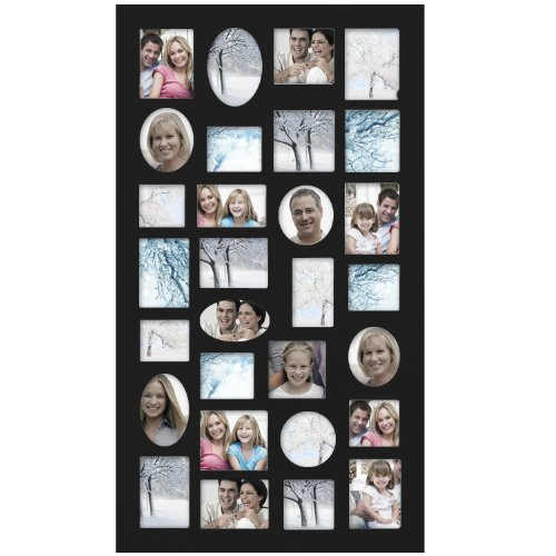 Adeco [PF9105] Decorative Black Wood Wall Hanging Collage Picture Photo Frame, 29 Openings, Various Sizes between 3.25x2.75