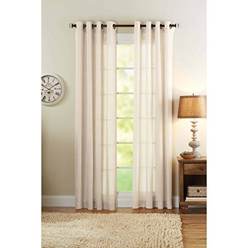 Better Homes and Gardens Semi-Sheer Grommet Curtain Panel 50 x 84 Bleached Linen