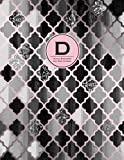 Initial D Monogram Journal - Dot Grid, Moroccan Black,White & Blush Pink: Classic, Soft Cover Notebook (8.5 x 11 Notebook)