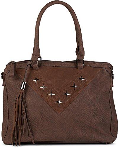 styleBREAKER bolso para compras con recortado de metal en forma de estrella y borlas, bolso de hombro, bolso de bandolera, bolso de mano, señora 02012180, color:Negro Marrón oscuro