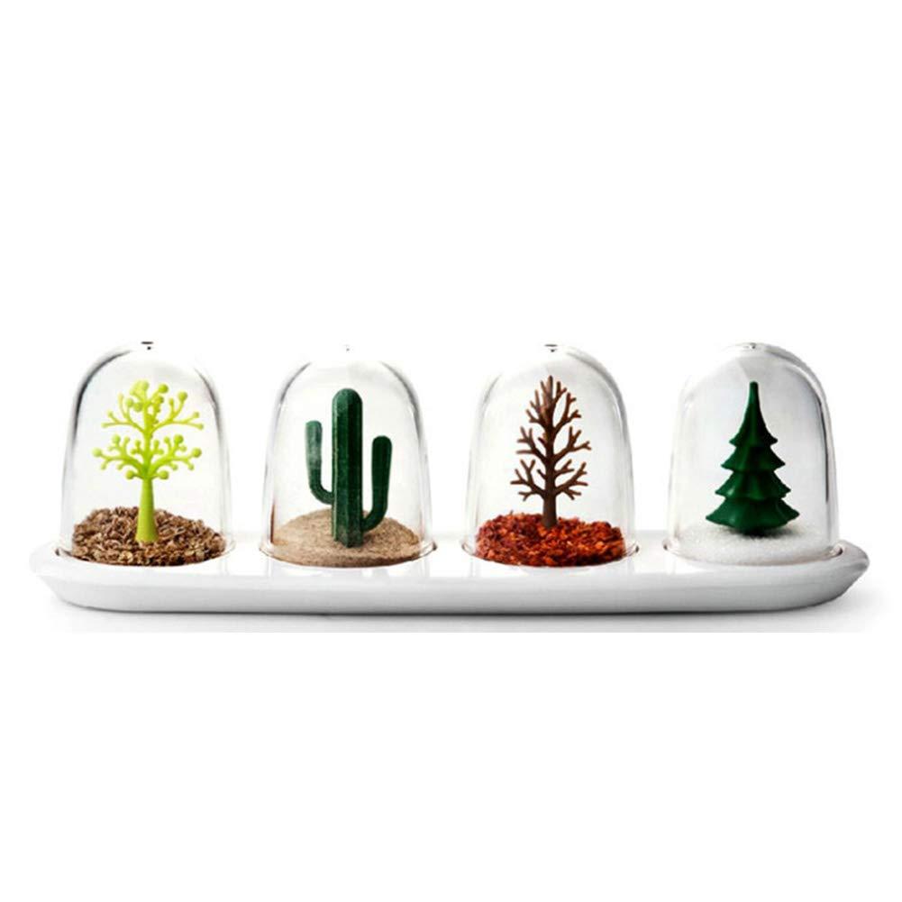 piante quattro stagioni Hemore condimento box creative plastica cucina sale pepe condimento shaker per condimenti spezie bottiglia box set