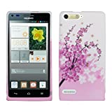 kwmobile TPU SILICONE CASE for Huawei Ascend P7 Mini Design cherry blossom dark pink light pink white - Stylish designer case made of premium soft TPU