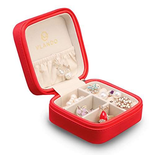 Vlando Small Faux Leather Travel Jewelry Box Organizer Display Storage Case for Rings Earrings Necklace (Christmas Red)