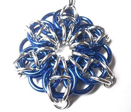 Blue Christmas ornament - Blue and silver star - Chainmaille holiday ornament - Winter solstice ornament - Large star