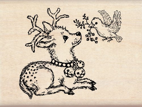 Inkadinkado Wood Stamp, Deer and Bird