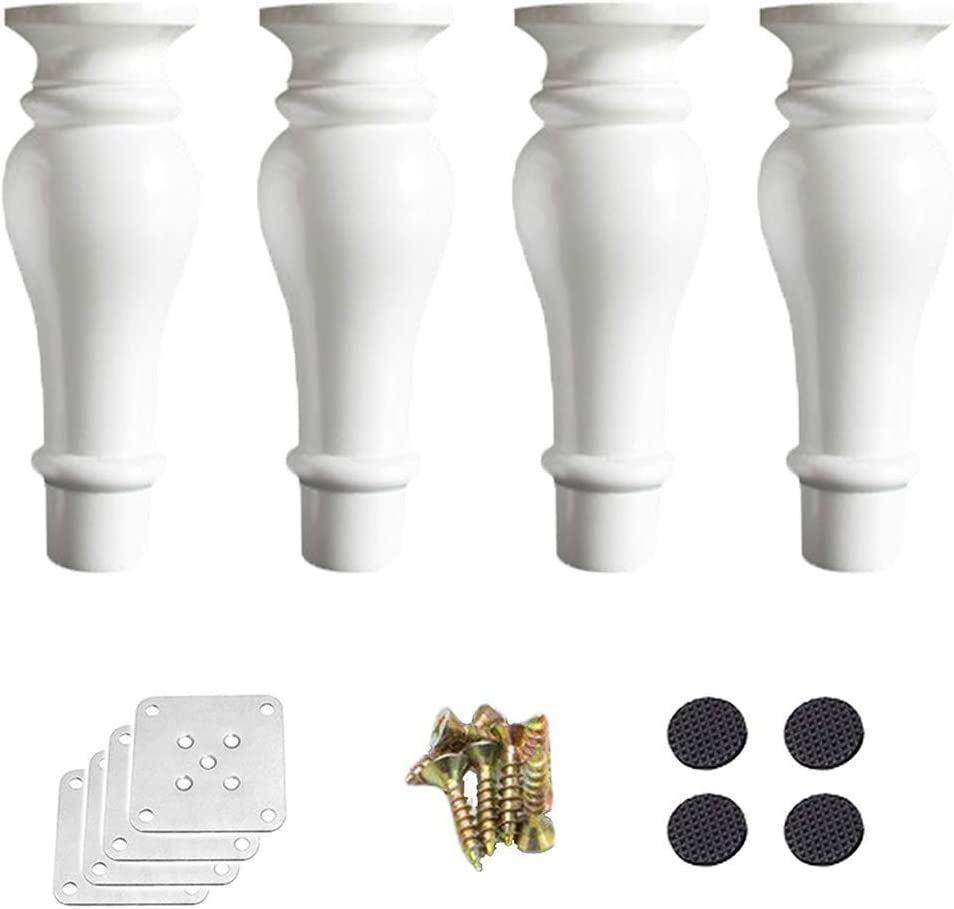 Round Kitchen Cabinet Leg, Solid Wood Replacement Furniture Legs, Pumpkin Shaped Sofa Feet, Sofa/Chair/Loveseat/Ottoman/Coffee Table/Bed/TV/Dresser Feet, with Mounting Plates, Set of 4