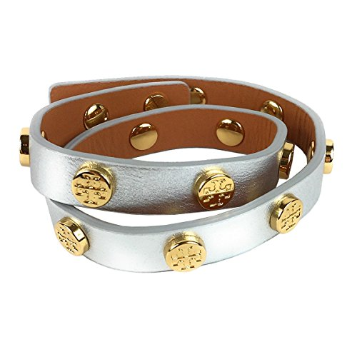 Tory Burch Leather Double Wrap Logo Stud Bracelet, Silver/Gold