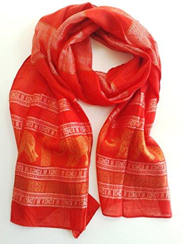 (RED - Thai Silk - Elephant Scarf , 20 x 72 Inch)