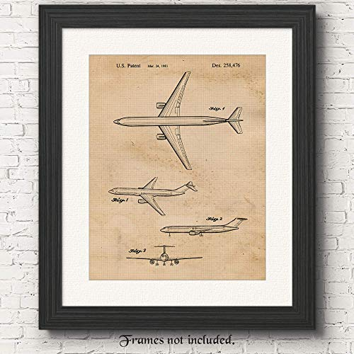 (Original Boeing Patent Poster Print - Set of 1 (One 11x14) Unframed Picture - Great Wall Art Decor Gifts Under $15 for Home, Office, Garage, Man Cave, Studio, Teacher, Pilot, Airport & Aviation Fan )