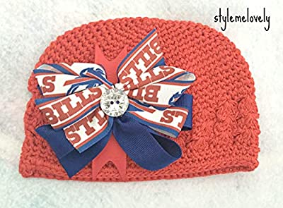 Buffalo Bills Boutique Bow Crocheted Kufi Hat, Newborn- Adult Sizes