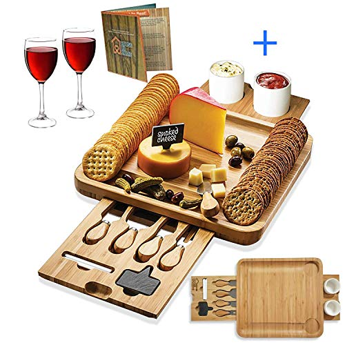 2 Drawer Server - Bamboo Cheese Board Wooden Two Ceramic Bowls Two Magnet Drawers Serving Platter Cutlery Server Knife Set and Slate Labels and Markers Gift Idea for Birthdays, Wedding Registry, Housewarming