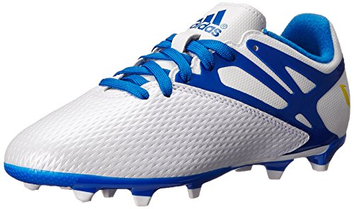 adidas Performance Messi 15.3 FG AG J Soccer Shoe (Little Kid/Big Kid), White/Prime Blue/Black, 4.5 M US Big Kid - Football Shoes Ag