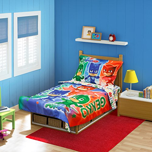 PJ Masks CatBoy Owlete Gekko 4 pc Toddler Bed Set, (Toddler Set)