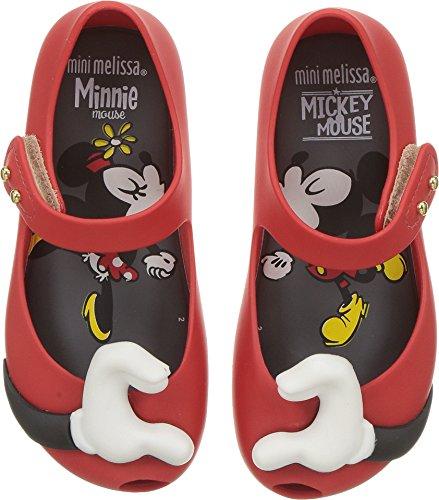 Mini Melissa Girls' Mini Ultragirl + Disney Mary Jane Flat red Flocked 9 Regular US Toddler