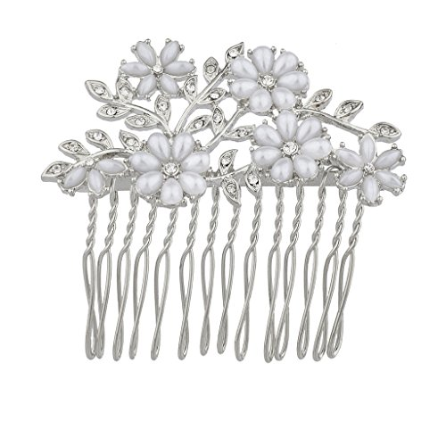 Hair Metal Costume Ideas (Lux Accessories Silvertone Flower Stone imitation Pearls and Glitz Bride Bridal Hair comb)