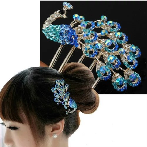 Brendacosmetic Lovely Vintage Jewelry Rhinestone Flower Peacock Hair Clips hairpin,Elegant Crystal hair claw hair comb for hair clip Beauty - Tortoise For Australia Sale